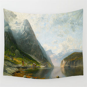 Foggy Forest Scenery Tapestry