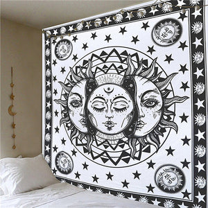 Black and White Sun and Moon Tapestry