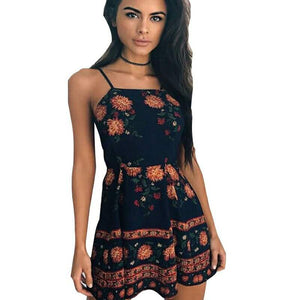 Retro Spaghetti Strap Mini Dress