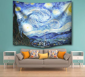Starry Night Tapestry Hanging Tapestries Hippie Boho Bedspread Beach Towel Yoga Mat Blanket Table Cloth Fabric Wall Home Decor