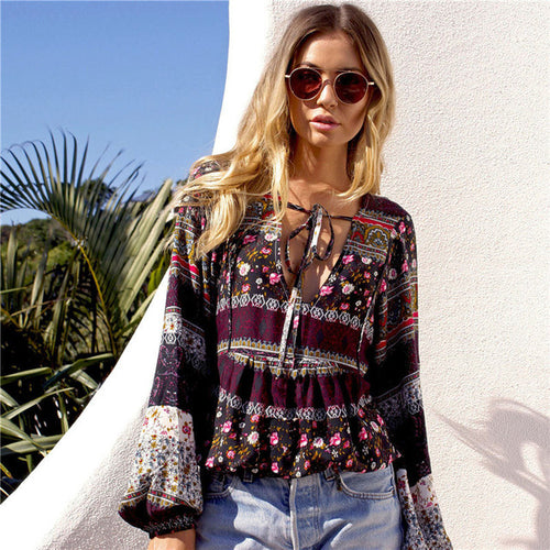 Deep V-Neck Vivid Bohemian Blouse