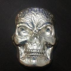 Beaver Bullion 10 oz .999 Pure Silver Skull Art bar