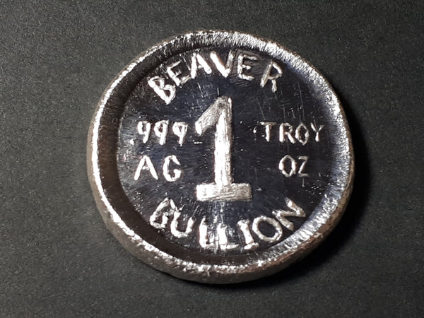 The True North High and Free / Beaver Bullion 1 oz .999  silver round