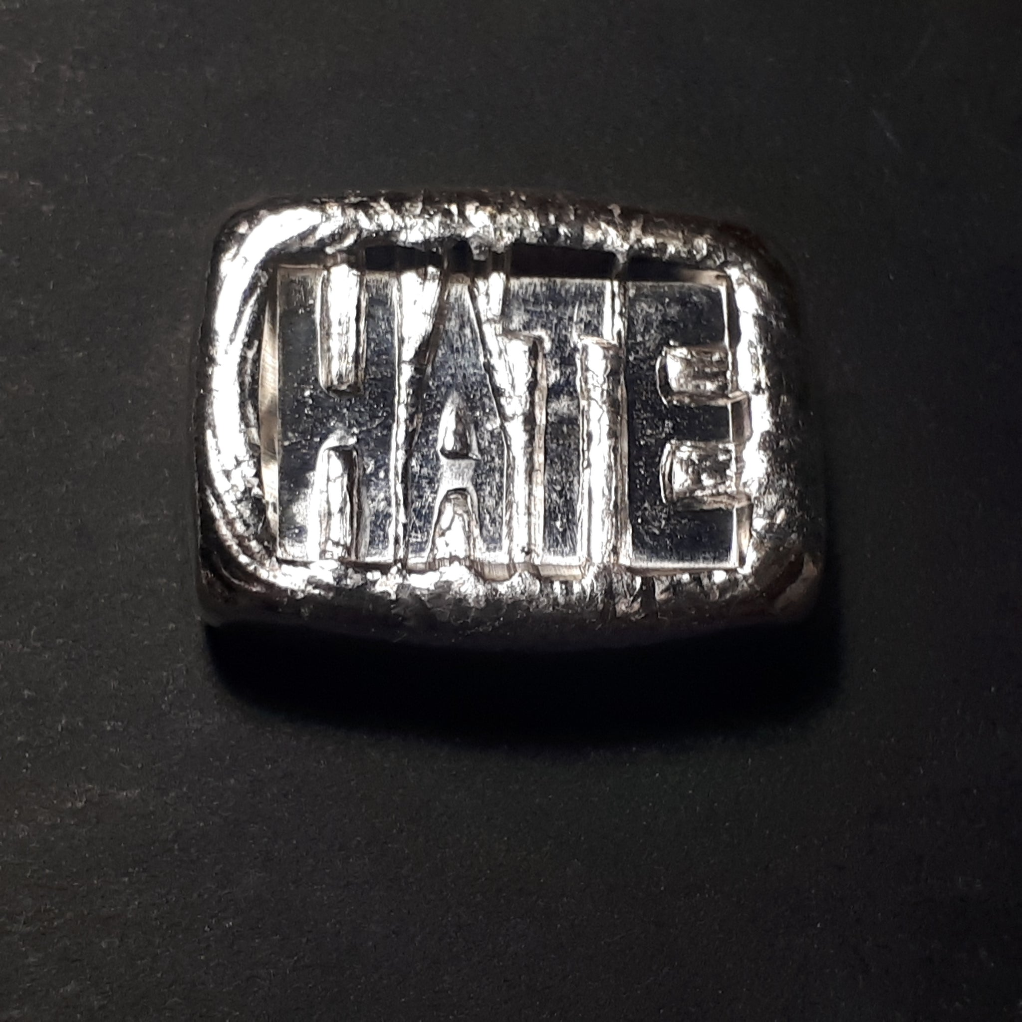 "chunky ""HATE"" bar one troy oz .999 fine silver bar"