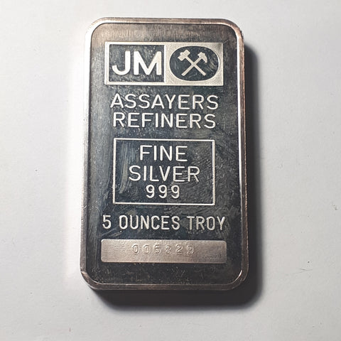 Johnson Matthey 5 troy oz .999 fine silver bar / blank reverse - serial 005829