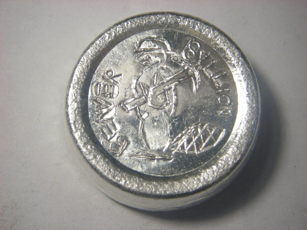 Beaver Bullion 3 oz .999 fine silver button.