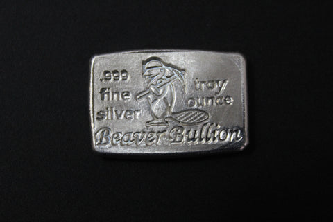 Beaver Bullion Hand Poured 1 oz .999 Pure Silver Bar