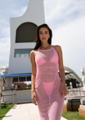 Load image into Gallery viewer, PALM BREEZE NET DRESS - hubba pink