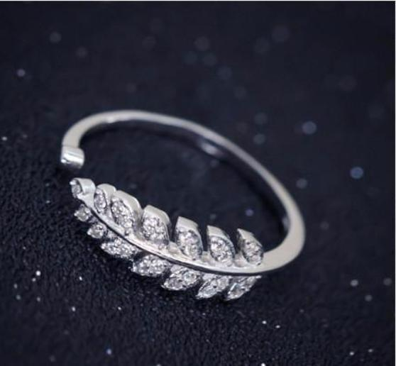 Beautiful Cute Sterling Silver Rhinestones Feather Adjustable Ring always a flawless fit