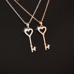 Sweet Trendy Crystal Heart Key Necklace Rose Gold/Silver Color