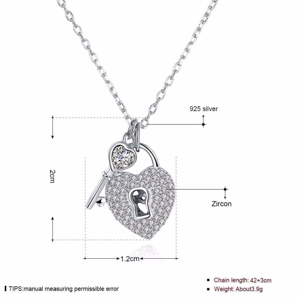 Stunning Sterling Silver Heart Lock & Key Love Necklace