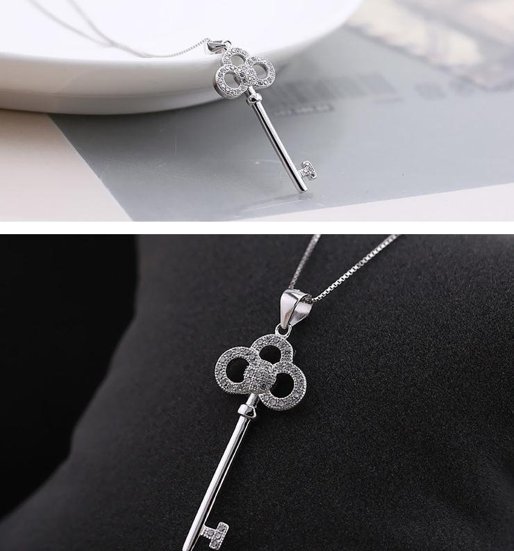 Gorgeous Keys to Hearts crystal key sterling silver pendant necklaces