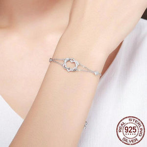 Beautiful Unique Sterling Silver Twisted Double Heart in Heart Chain Bracelet