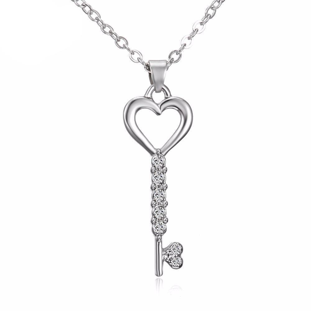 $0 FREE Fashionable Trendsetting Silver Love Heart Key Necklaces(Just Cover Shipping) Limited Time !