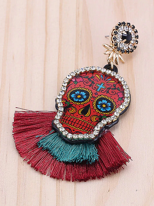 Skull Fringe Earrings - Nous Wanderlust Stories