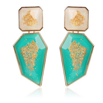 'Glint of Gold' Drop Earrings - Aqua - Nous Wanderlust Stories