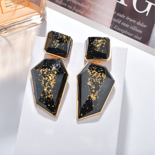 'Glint of Gold' Drop Earrings - Black - Nous Wanderlust Stories