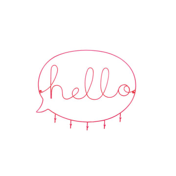 Hello Neon Pink Speech Bubble Wall Hook - Nous Wanderlust Stories