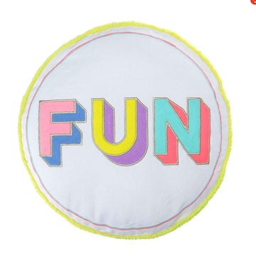 'FUN' Embroidered Round Cushion - Nous Wanderlust Stories