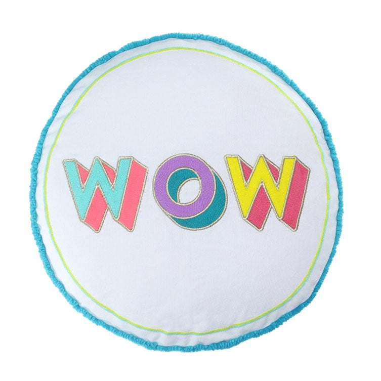 'WOW' Embroidered Round Cushion - Nous Wanderlust Stories
