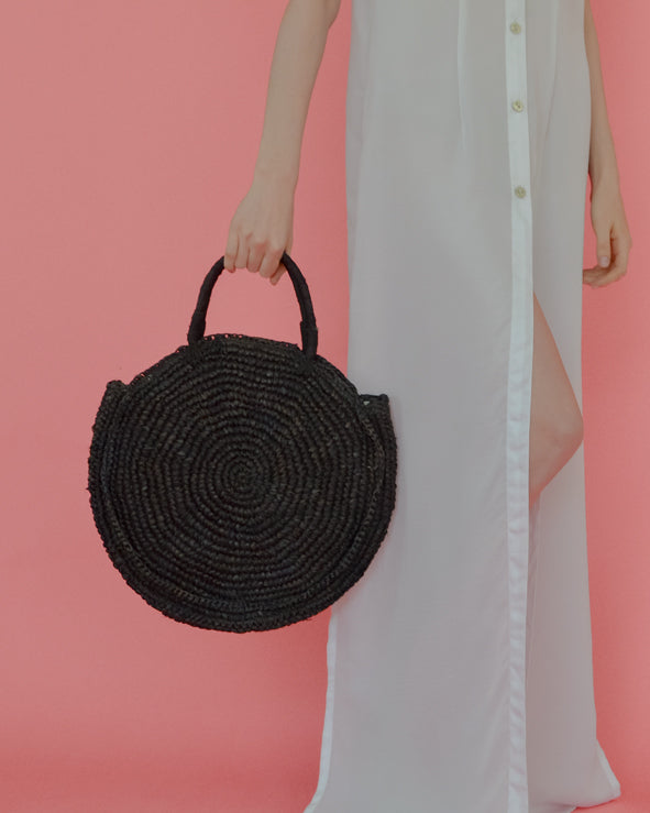 The Round Straw Bag - Black - Nous Wanderlust Stories