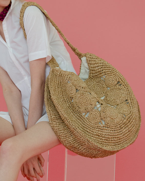 The Round Straw Flower Bag - Nous Wanderlust Stories