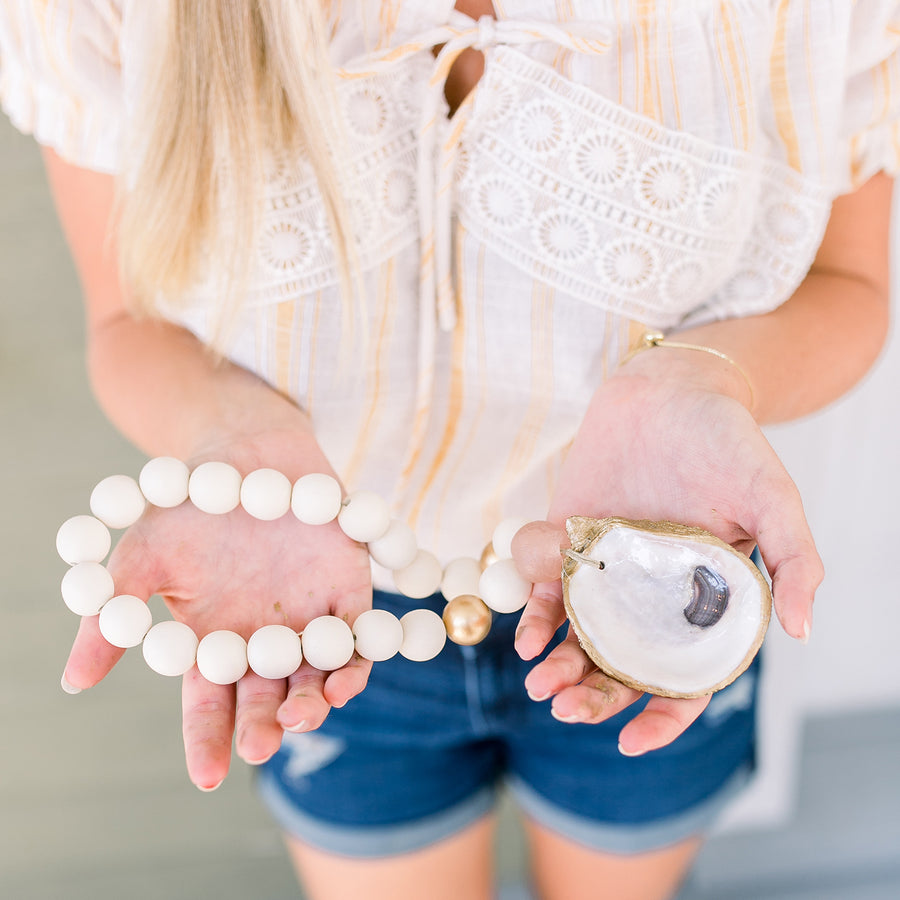 Recycled Oyster Shell Blessing Beads - Rose - Nous Wanderlust Stories