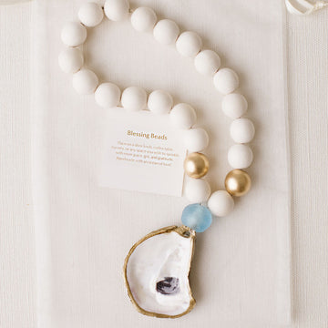 Recycled Oyster Shell Blessing Beads - Folly Blue - Nous Wanderlust Stories