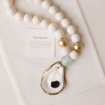 Recycled Oyster Shell Blessing Beads - Sea Foam Green - Nous Wanderlust Stories