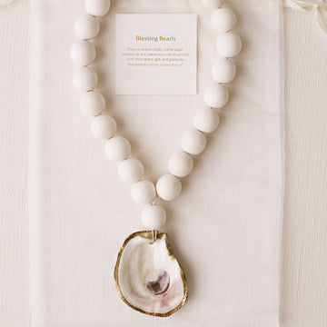 Recycled Oyster Shell Blessing Beads - White - Nous Wanderlust Stories