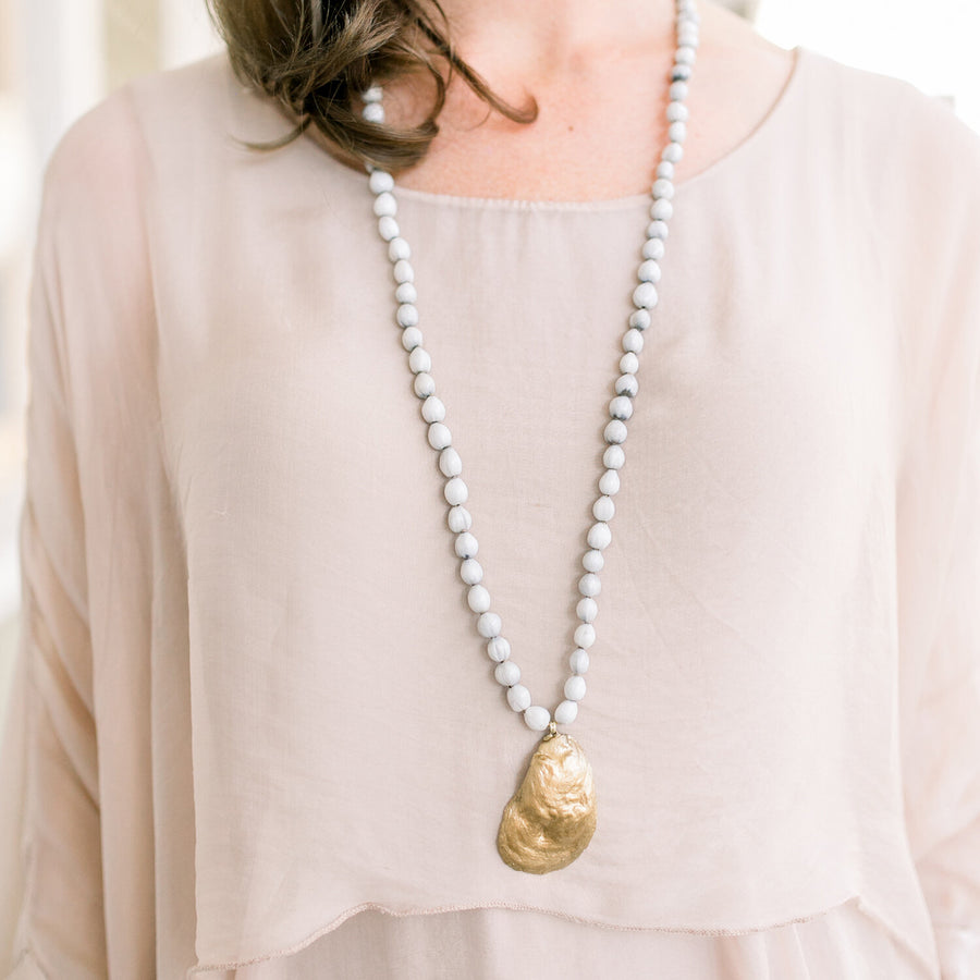 Coastal Calm Oyster Necklace - Nous Wanderlust Stories