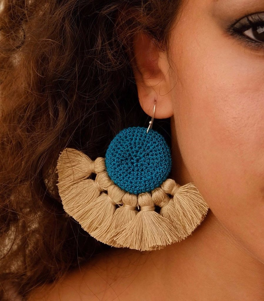 Tougana Crochet Disc Tassel Earrings - Nous Wanderlust Stories