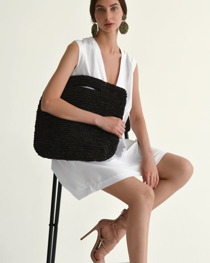 Straw Rectangular Tote - Black - Nous Wanderlust Stories