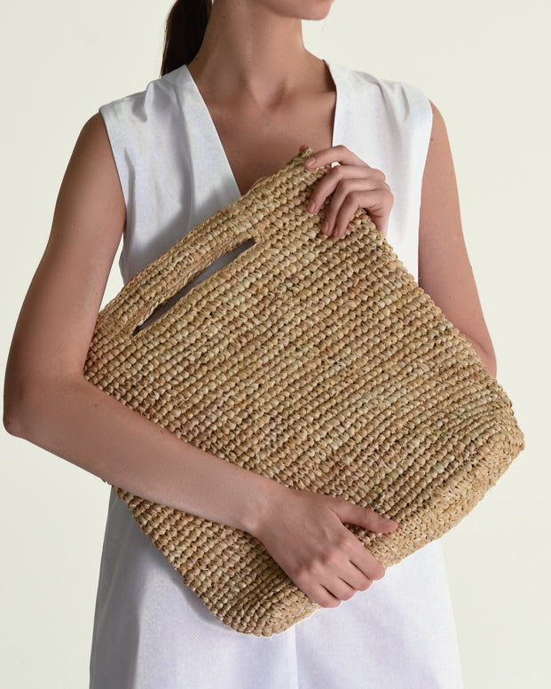 Straw Rectangular Tote - Natural - Nous Wanderlust Stories