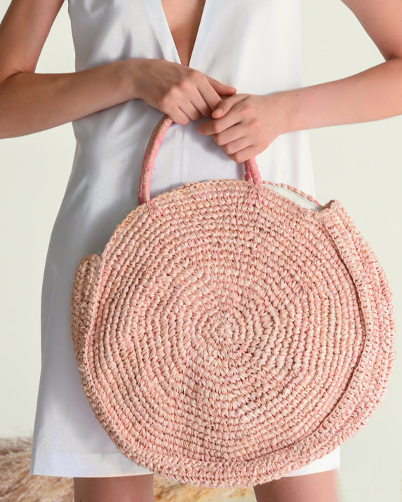 The Round Straw Bag - Pink - Nous Wanderlust Stories
