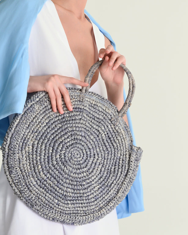 The Round Straw Bag - Blue - Nous Wanderlust Stories