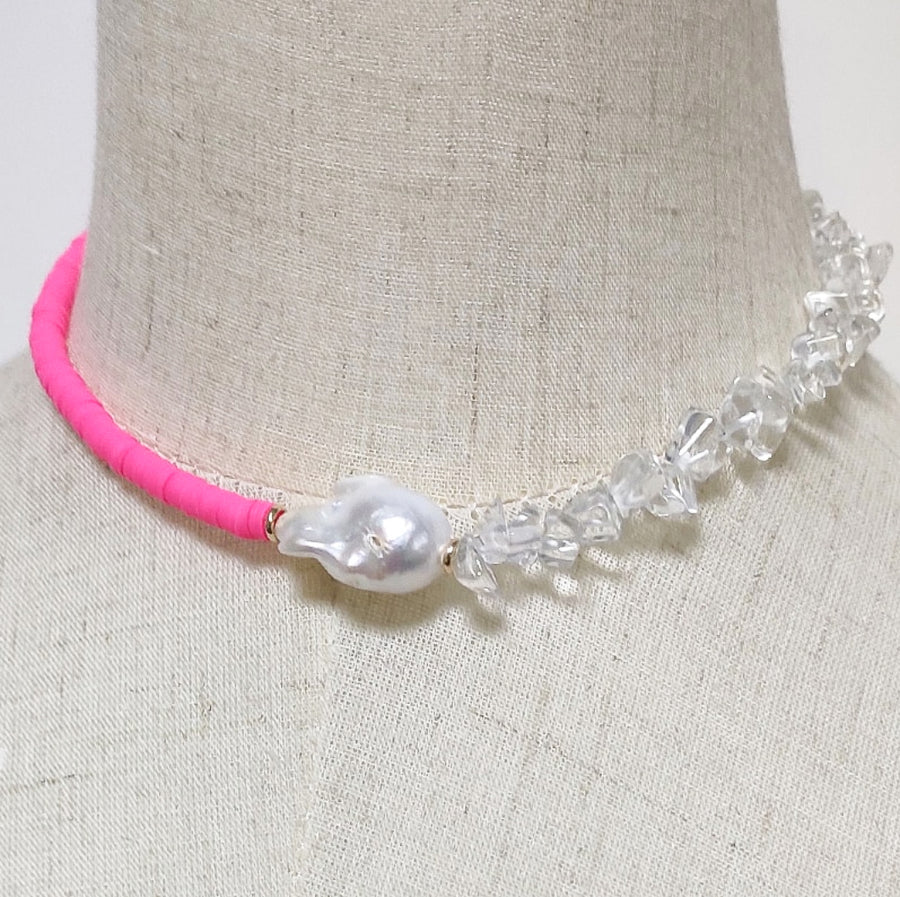 Cluster Choker Necklace - Neon Pink - Nous Wanderlust Stories