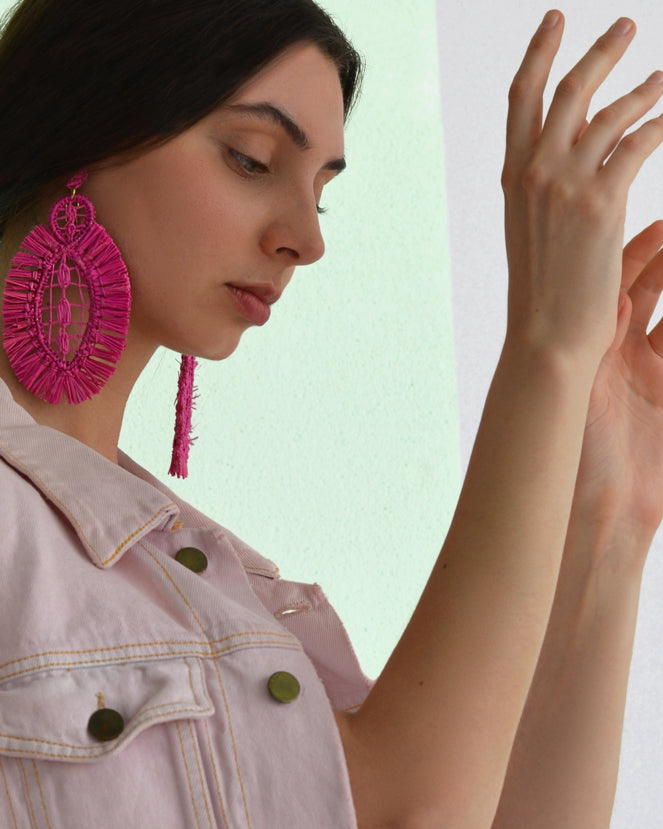 Pipa Earrings - Fuchsia - Nous Wanderlust Stories