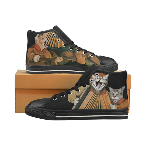 Cat Scouts Accordion/Ukelele Band Around the Campfire Men's Classic High Top Canvas Shoes