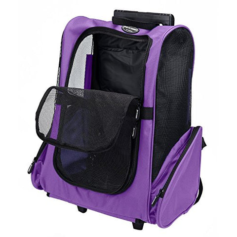 Pettom Roll Around 4-in-1 Pet Carrier Travel Backpack for Dogs & Cats - Airline Approved for Cats Under 10 lbs.