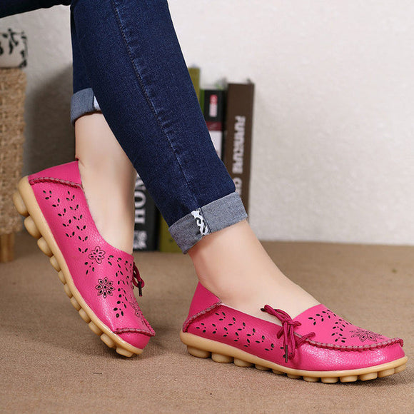 Large Size Rose Embroidered Round Toe Soft Flat Loafers