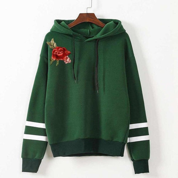 Women Embroidery Applique Long Sleeve Hoodie