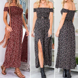 Women Sexy Long Beach Dress Flower Print Bra Split Dress