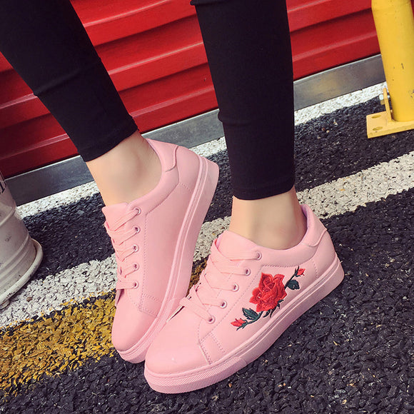 Women Embroidery Flower Sports Running Sneakers