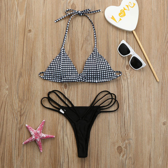 Women Summer Sexy Plaid Bikini Set