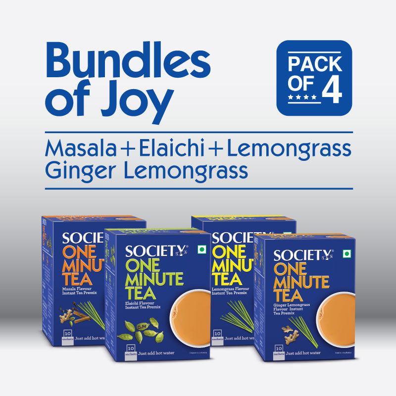 Society One Minute Masala + Elaichi + Lemongrass + Ginger Lemongrass  Instant Tea Premix