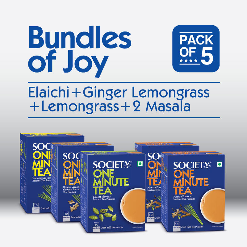 Society One Minute Masala (2p) + Elaichi + Lemongrass + Ginger Lemongrass  Instant Tea Premix