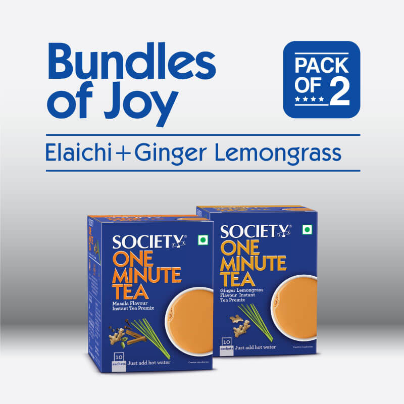 Society One Minute Elaichi Instant Tea Premix + Society One Minute Ginger Lemongrass Instant Tea Premix