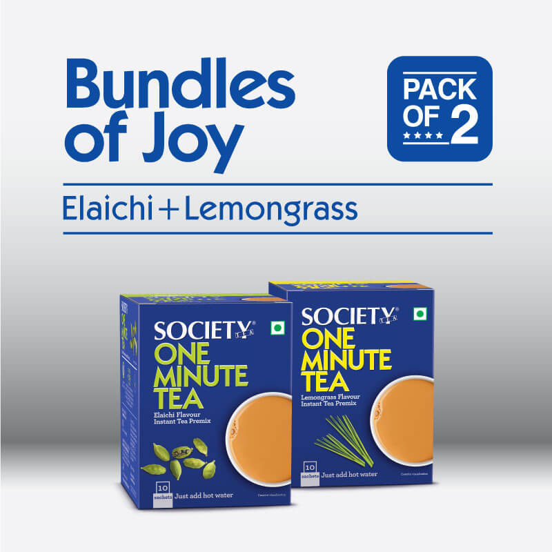 Society One Minute Elaichi Instant Tea Premix + Society One Minute Lemongrass Instant Tea Premix