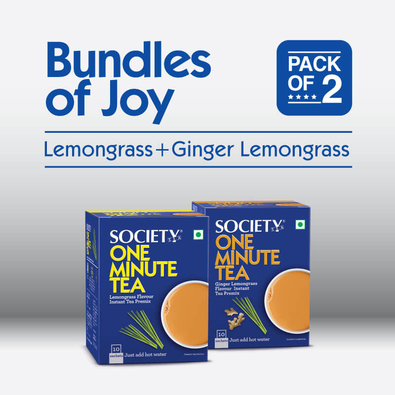 Society One Minute Ginger Lemongrass Instant Tea Premix + Society One Minute Lemongrass  Instant Tea Premix